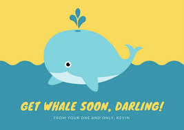 Get Well Soon Cards Printables Blue Yellow Whale Ocean Funny Get Well Soon Card Templates By Canva