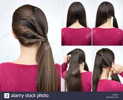 Twisted Hair Style simple hairstyle pony tail with twisted hair tutorial step by step 7871 by wearticles.com