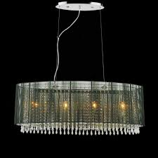 picture of 35 ovale modern string drum shade crystal oval chandelier polished chrome with black
