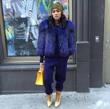 coat pants fashion week 2016 ny fashion week 2016 streetstyle fur jacket big fur coat blue coat winter outfits winter look wheretoget