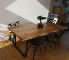 Esstisch Eiche Massivholzplatte Tisch Massiv Baumkante Rustikal