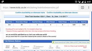 Irctc Ticket Fare Chart What Is Dynamic Fare In Irctc Quora