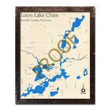Loon Lake Depth Chart Loon Lake Chain Of Lakes Wi Wood Map 3d Nautical Wood Charts
