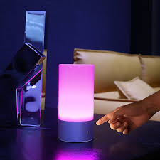 aukey table lamp touch sensor bedside lamp dimmable warm white light color changing rgb