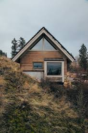 A frame hillside cabin
