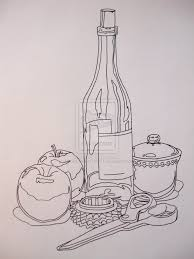 still life done with ink contour line drawing by marinemantis3ye on deviantart