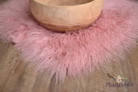 pink curly genuine tibetan lamb skin rug 70x70cm 98 00