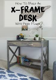 How to build a small X-Frame desk with free digital plans. Desk includes a  bottom bookshelf and an large drawer for storage.