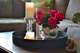 Decorative Trays For Living Room Black Metal Round Tray Coffee Table With Candle Holder And Flower 70