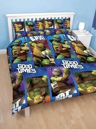 ninja turtles bedding set twin kid room mini table lamp on white nightstand beside turtle teenage mutant bed m