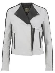 muubaa serpens collarless leather biker jacket in black and cloud