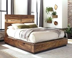 Rustic King Bed Frame With Storage Living Smoky Walnut Eastern E 1 ...