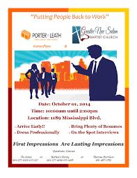 Job Fair 10 1 14 Sponsored By Porter Leath Career Place