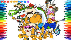 How To Draw Super Mario Bros Bowser Koopalings 226 Drawing Coloring Pages Videos For Kids