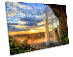 iceland sunset waterfall canvas wall