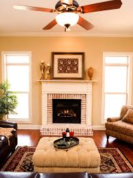 contemporary living room with wood ceiling fan