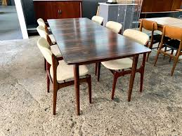 gustav bahus rosewood dining table narrow width with three leaves 50 length x 23 leaves 12 each x 34 5 d x 29 h