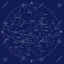 Constellation Chart Sky Map And Constellations With Titles Vector