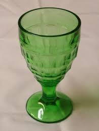 colonial block green depression glass footed tumbler glass goblet