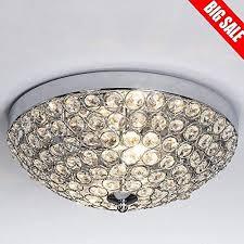 sottae european 2 lights bowl shape flush mount chrome finish modern crystal chandelier ceiling light crystal ceiling light for bedroom living room