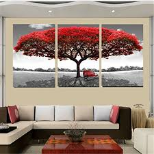 kingso red tree canvas home decor abstract artwork painting for