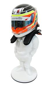 Motorcycle Helmet Display Stand Adorable HELMET HANS DISPLAY STAND RACING DRIVER Character Figure FRP