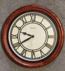 elegant vintage 16 bulova roman numeral stained oak wall quartz clock c3462