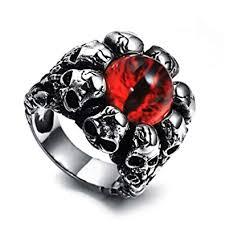pamtier snless steel skull evil eye biker ring for men women amazon