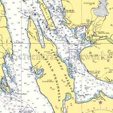 Resurrection Bay Chart Alaska Funter Bay Auke Bay Mansfield Peninsula Nautical Chart Decor