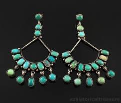 navajo handmade sterling silver turquoise chandelier earrings by edison largo