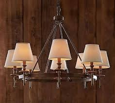 5 of 6 pottery barn pb basic linen chandelier shades set of 3 white new