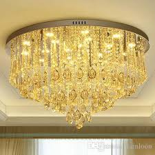 dimmable led chandeliers ceiling mounted high end led round european modern romantic crystal ceiling lights for hotel villa home decoration ceiling