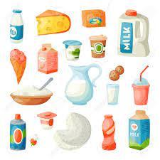 Productos Lácteos De La Leche En El Ejemplo Plano Del Vector De La Nutrición Del Ingrediente De La Bebida De La Dieta Fresca De La Comida Orgánica Gastrónoma Del Desayuno Del Estilo
