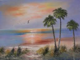 other oil painting 903 tropical beach sunset palm trees seascap