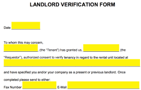 Free Rent Landlord Verification Form Word Pdf Eforms Free