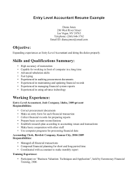 Entry Level Accounting Resume Sufficient Quintessence Marketing