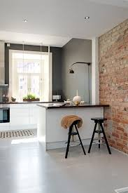 Kitchen: Industrial Kitchen With Exposed Brick Wall Decor - Brick Kitchen  Backsplash