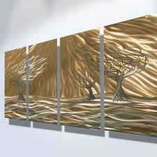 3 trees 4 panel abstract metal wall art contemporary modern decor thumbnail 1  on 4 piece metal wall decor with 3 trees 4 panel abstract metal wall art contemporary modern decor