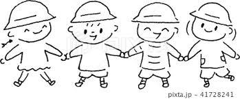 幼稚園 園児 幼児 子供 手をつなぐ モノクロのイラスト素材 41728241