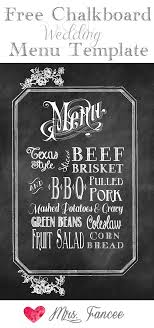 Chalkboard Menu Templates Chalkboard Wedding Menu Free Template Mrs Fancee