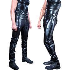 black men skinny faux pu leather pants shiny trousers nightclub stage performance singers r male pants gdkn68511