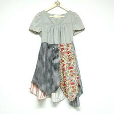 um boho tunic cotton long top upcycled clothing artsy cou