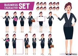 Employee Office Business Woman Character Vector Set With Young Happy Professional
