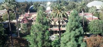 a view of the winchester mystery house from a highrise building to the south