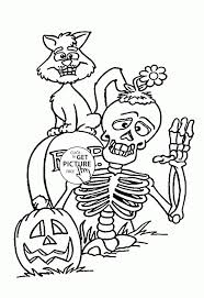 Skeleton And Black Cat Coloring Pages