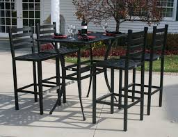 upholstered wrought iron armchair with square bar height dining table with outside bar furniture also patio
