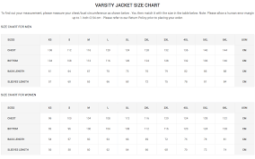 Jacket Length Chart Varsity Jacket Size Chart Clothoo