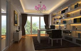 office styles. Cozy Home Office Interior Design With Soothing Lighting And Ample Windows Outside View Styles