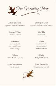 wedding party program templates wedding program templates free wording program samples