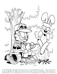Garfield And Odie Roasting A Sausage Coloring Page Gaft Coloring